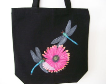 Reuseable canvas tote with Dragonflies