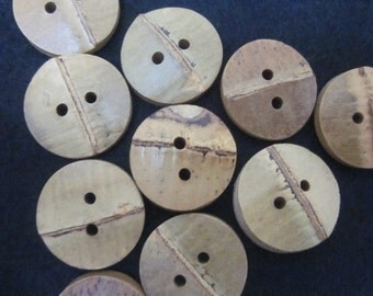 10 Small Natural Bamboo Buttons