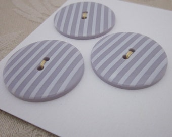 3 Large Candy Striped Lilac Buttons