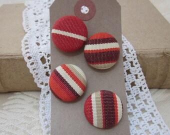 4 Handmade Rust Red Stripe Buttons