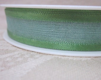 25 metres Satin Edged Leaf Green Organza Ribbon