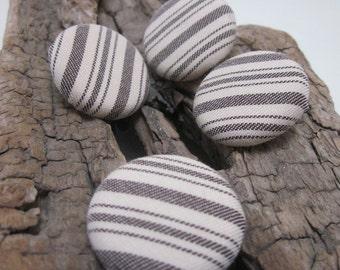 4 Medium Ticking Striped Handmade Buttons