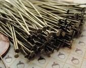 Bulk 500 pcs of Antiqued Brass headpins, 60mm,  21 gauge  HP7502