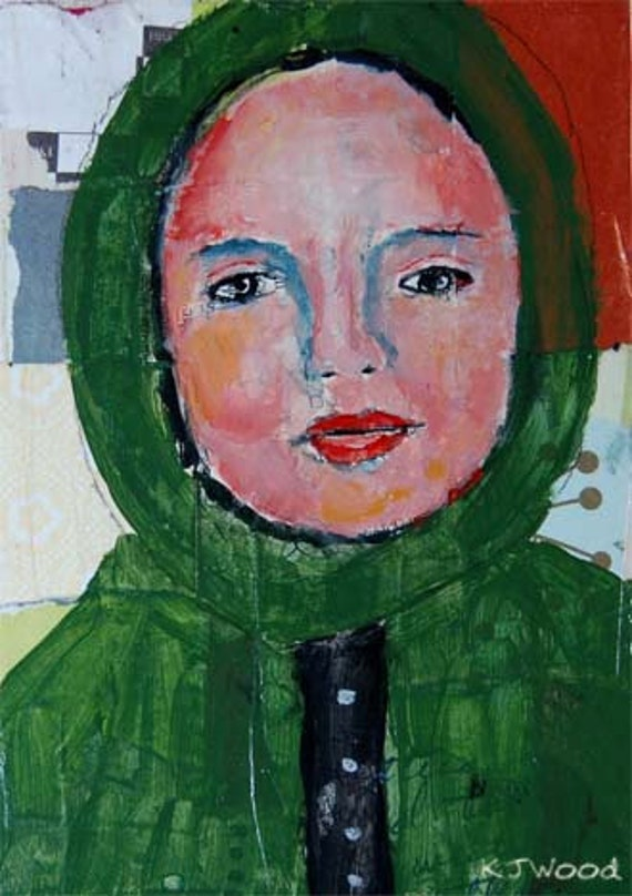 Acrylic Portrait Painting - Baby It's Cold Outside, 5x7, girl, Green Coat, Hood, Collaged Background