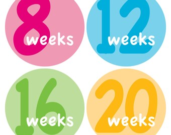 12 Weekly Pregnancy Mama-to-be Maternity Waterproof Glossy Stickers  - Monthly stickers available - Design W001-04