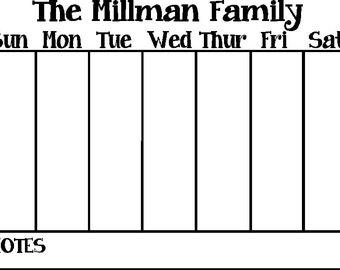 Customizable Weekly Calendar Vinyl Decal for Dry Erase board or frame 11 x 14