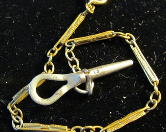 Vintage Gold Filled Pocket Watch Bar Link Chain Fob with Key AF 43