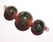 Gingery Blue Green, Handmade Lentil Lampwork Bead Set, SRA