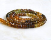 Tourmaline Gemstone Rondelle Faceted Petrol Green Rust Multi 4mm 1/2 strand 60 beads