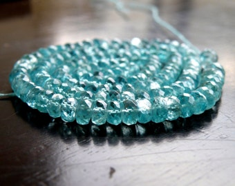 Apatite Gemstone Teal Faceted Rondelle 4mm Full Strand 140 beads