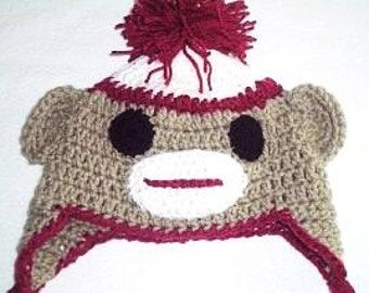 Crocheted Sock Monkey Hat, Traditional Sock Monkey Hat, Newborn Baby Hat, Monkey Hat  Photo Prop, Baby Animal Hat With Earflaps and Braids