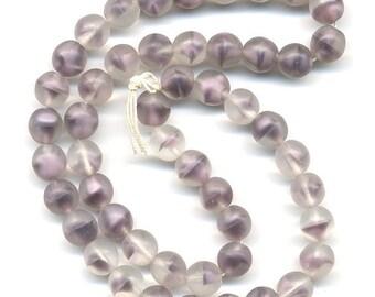 Vintage Purple Beads 6mm Lavender Givre Glass Matte Finish 50 Pcs. - W.G.
