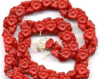 Vintage Dark Lipstick Red Flower Beads 7mm Opaque Glass Button Back Western Germany 24 Pcs