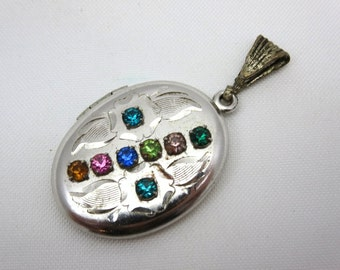 Rhinestone Locket - Colorful Gems 12k White Gold Fill