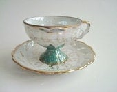 RESERVED FOR LIZ National Potteries Co Lusterware Made in Japan Cup and Saucer Orig Labels