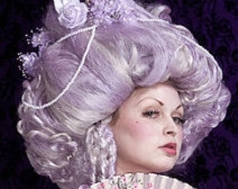 Custom Marie Antoinette Lavender Wig With Ship Flowers Pearls free shipping