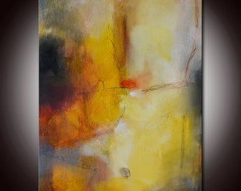 Gold Abstract Painting, Large Gold Abstract,  Abstract Original Painting by Andrada 24x18 Orange painting,Mixed media art