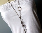 Venetian Ball White Feather Tassel Necklace - OOAK Hollow Glass Bubble Long Statement Necklace