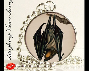 Bat Necklace - Gothic Jewelry - Bat Jewelry - Vintage Bat Style-B Small Pendant - Square Or Round - Gothic Necklace - Vampire Necklace