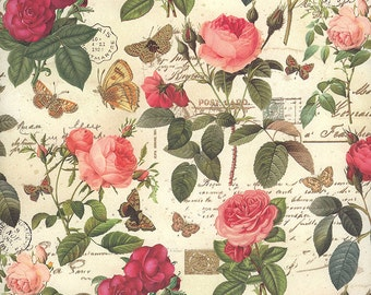Red and Pink Rose and Butterfly Collage Print Italian Paper ~ Kartos Italy  K157
