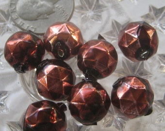 8 Glass Garland Beads Faceted Brown Christmas Garland Beads Czech Republic. 13mm  080BR
