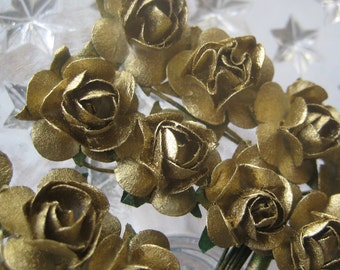 Paper Millinery Flowers 24 Small Handmade Roses In Metallic Gold
