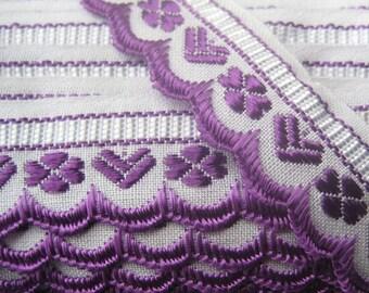Czech Republic Woven Purple Embroidered Cotton Trim 20mm 2 Yards  Folk Costume Trim