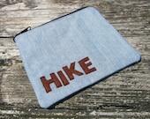 Denim cotton hiking bag - hiking gear - hike - camp - hiking - camping - camping gear - road trip - cotton zipper bag - cotton cosmetic bag