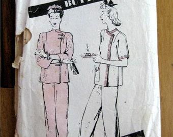 Vintage 1940's Original Butterick Pajama pattern size 16 Chinese style