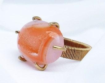 Orange Druzy Ring, Peach color stone set in NuGold, size 8