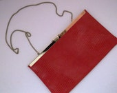 Rich Red Snakeskin Patterned Leather and Goldtone Clutch Purse Chain Strap Free Scarf