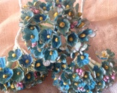 SET of 3 ANTIQUED  Bouquets -  Robins Egg Blue Millinery Flowers Forget Me Nots  - Antiqued - Aged to Perfection