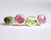 Freeform Tourmaline Ring Rose Cut Green BirthStone Ring Hammered Band Statement Ring Freeform Flat Ring  OOAK US Size 6 1/4