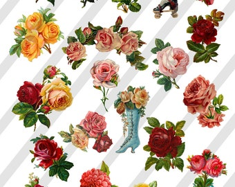 Digital Collage Sheet Victorian Floral Images (Sheet no. O184) Roses instant Download