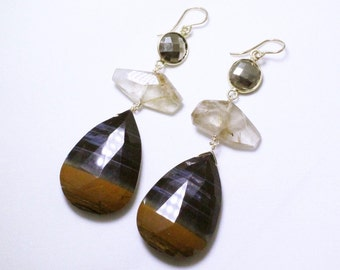 Rare Golden Pyrite Tiger's Eye Three Stone Statement Earrings Golden Rutilated Quartz Pyrite One of a Kind Raw Stone Earring Tiger-E-101-000