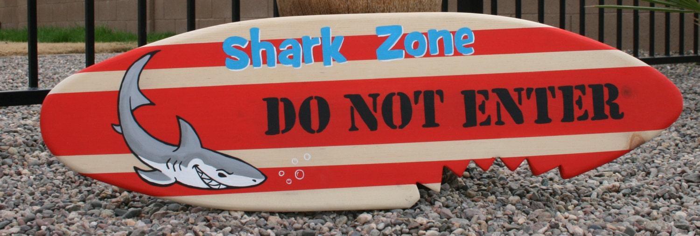 Mini Surfboard Wall Art Shark Zone Do Not Enter
