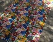 "2 large vintage childrens drapes curtains panels fabric 85"" x 49"" each"