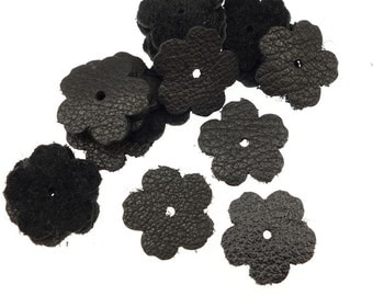 """20 Small Black Leather Flowers - TierraCast 0.75"""" Rivetable Flowers - Leather Jewelry Supplies Diecut Flower Shapes Die Cuts  21-0050-17"""