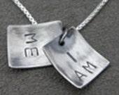 Silver Necklace - Pendant - I am me - Self affirmation faux locket - Lg Print