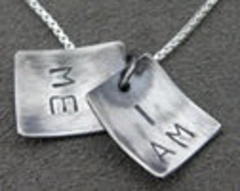 Silver Necklace - Pendant - I am me - Self affirmation faux locket - Lg Print