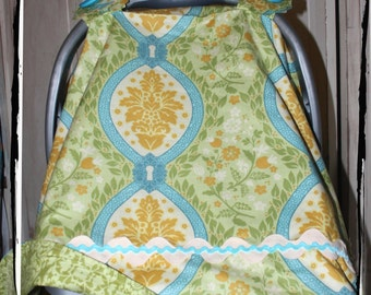 Sale 20% Off!  Car Seat Canopy-Sunset Garden Damask Carseat Canopy- Ready to Ship