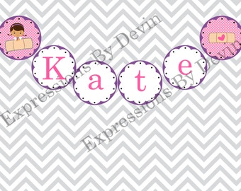 DIY Printable Doc Girl Inspired Personalized Name Banner 4 inch circle DIGITAL PDF Banner