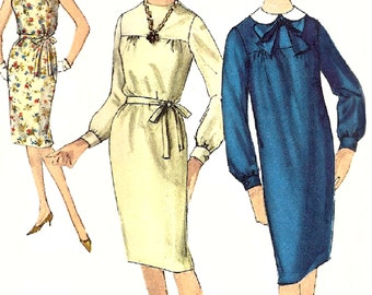 Sheath Dress Pattern 1960s Simplicity Vintage Sewing Slim Misses Women's Junior Size 13 Bust 33 Inches