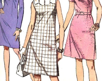 1970s Dress Pattern Simplicity Vintage Sewing Women's Misses Size 18 Bust 40 Inches