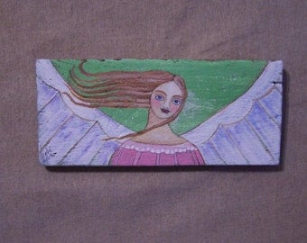 Folk Art Angel Original Painting Rustic Prim Shabby