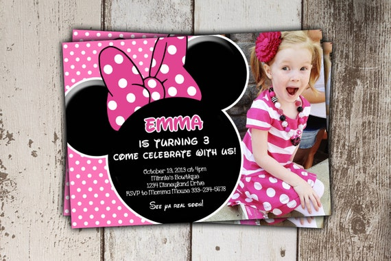 Minnie mouse invitations pink birthday invitations with like this item solutioingenieria Images