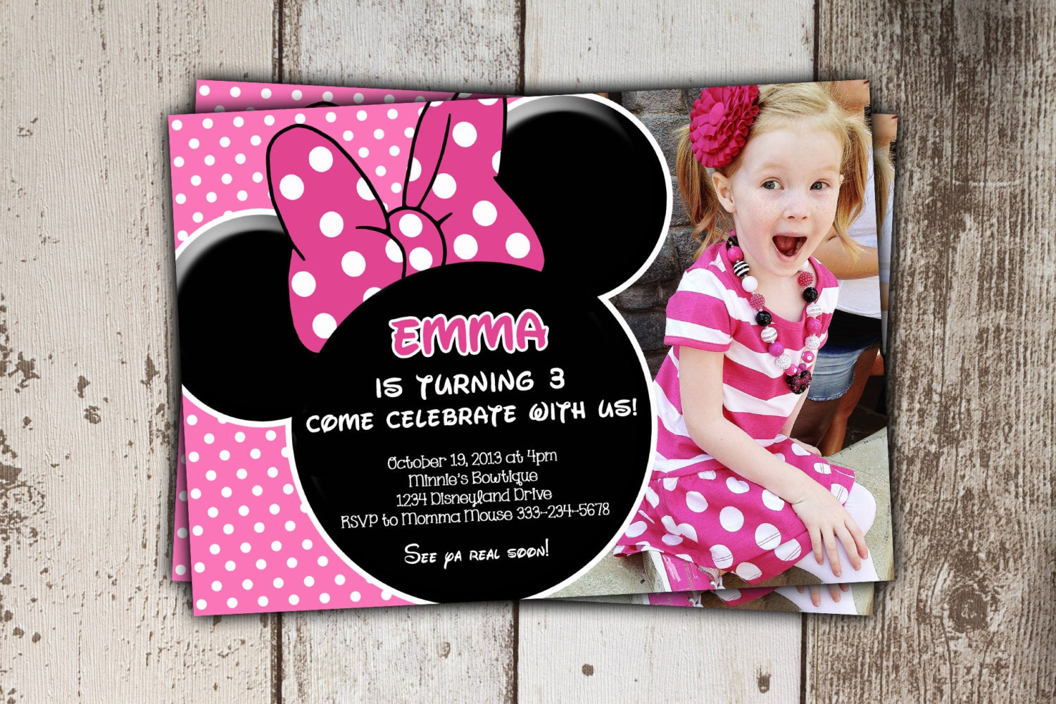 minnie mouse invitations pink birthday invitations with