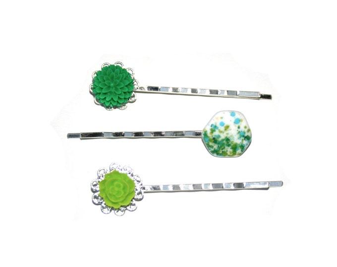 Green Flower Bobby Pins, Green Hair Grips, Girls Hair Accessory, Set of Three