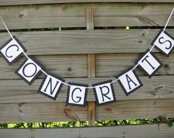 Congrats Banner - Graduation Open House Decoration in Black and White