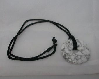 Pi Howelite Pendant with black satin cord
